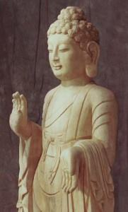 Buddha: Abhaya Mudra [fearl-removing hand gesture] and Varada Mudra [ blessing or compassion hand gesture]